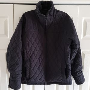 Columbia Black Ski Jacket Quilted Faux Furry Colla
